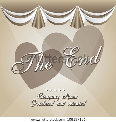 vintage movie ending screen with  hearts, vintage. vector illustration - stock vector