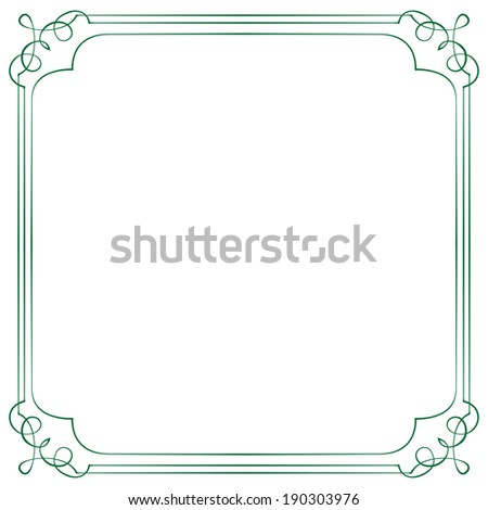 Vintage multilayer square vector frame with swirls - stock vector