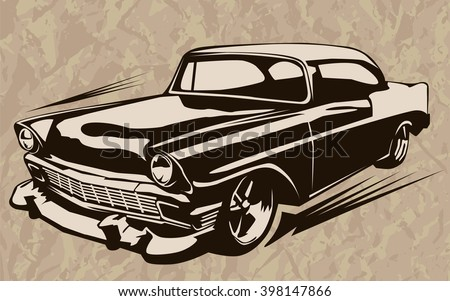 Vintage muscle cars inspired cartoon sketch. Vector abstract old school muscle car. Vector image can be used for posters and printed products. - stock vector