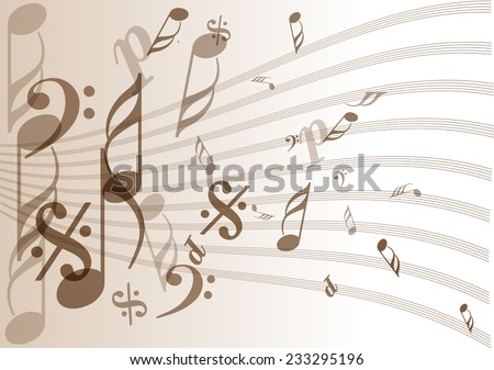 vintage music notes paper - stock vector