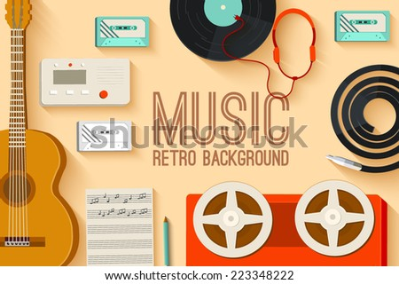 vintage music studio equipment table background on old style concept. Vector illustration design - stock vector