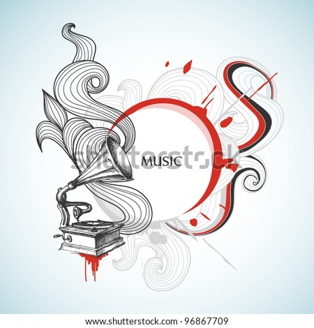 Vintage music vector background - stock vector
