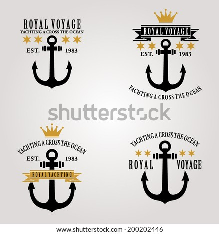 VINTAGE NAUTICAL BADGES AND LABELS OR PRINT - stock vector