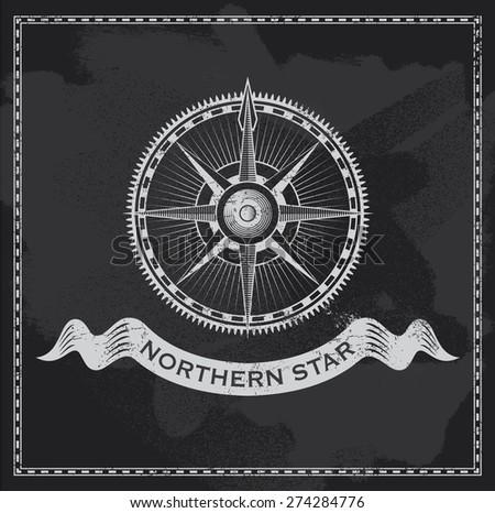 Vintage nautical compass. Chalkboard wind rose vector design. - stock vector