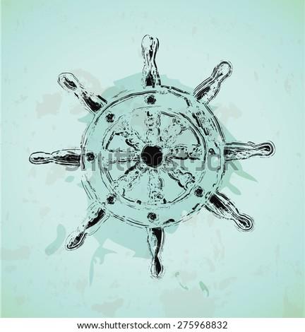 Vintage nautical design-Steering ship's wheel - stock vector