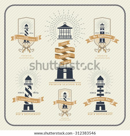 Vintage nautical lighthouse and ribbon labels set on striped background - stock vector