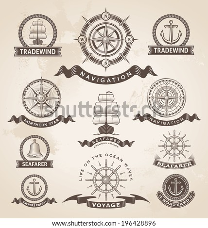Vintage nautical marine label set. Retro vector design elements. - stock vector