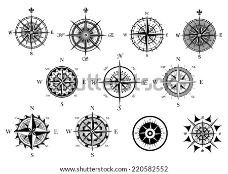 Vintage nautical or marine wind rose and compass icons set, for travel, navigation design  - stock vector