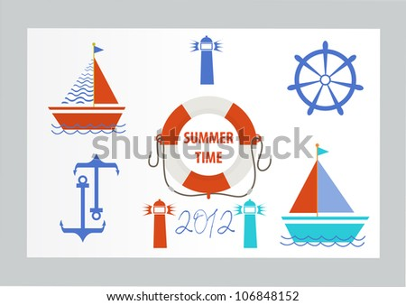 Vintage Nautical Premium Quality Labels and Badges - stock vector