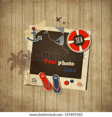 Vintage nautical scrap template with photo frame - stock vector