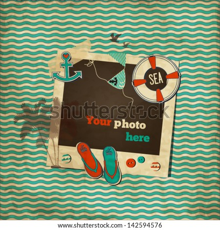 Vintage nautical scrap wavy template with photo frame, lifebuoy, swimsuit, flip-flops, anchor,palm tree,birds,heart and buttons - stock vector
