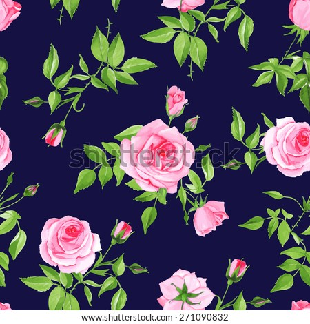 Vintage navy with pink rose seamless vector print. Contrast retro floral pattern. - stock vector