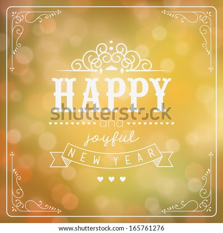 Vintage New Year Background With Typography - stock vector