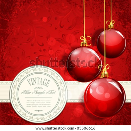 Vintage New Year's background and red balls - stock vector