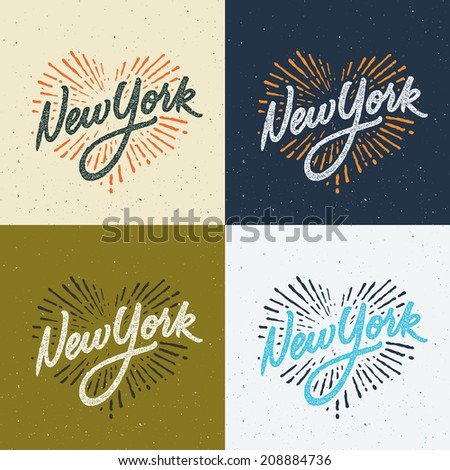 Vintage New York calligraphic handwritten t-shirt apparel fashion design print with distressed and textured look - stock vector