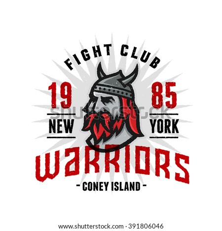 Vintage New York Warriors Fight Club Tshirt Apparel Fashion Print. Retro Hand Made Tee Graphics. Old School Americana Style. Athletic Department Aesthetics. Classic Sport Logo. Viking's Head. - stock vector