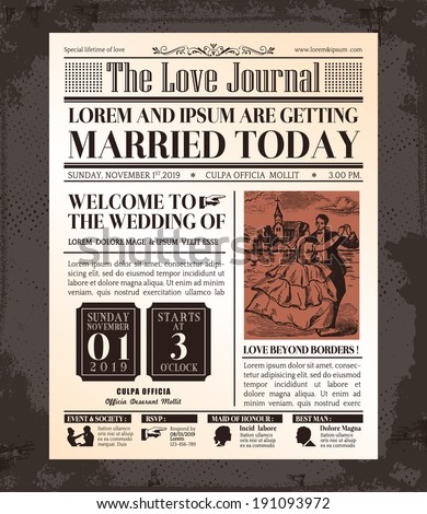 Vintage Newspaper Journal Wedding Invitation Vector Design Template - stock vector