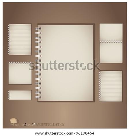 Vintage notebook designs. Vector illustration. - stock vector