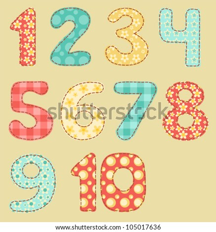 Vintage numbers set. Patchwork series. Vector illustration.