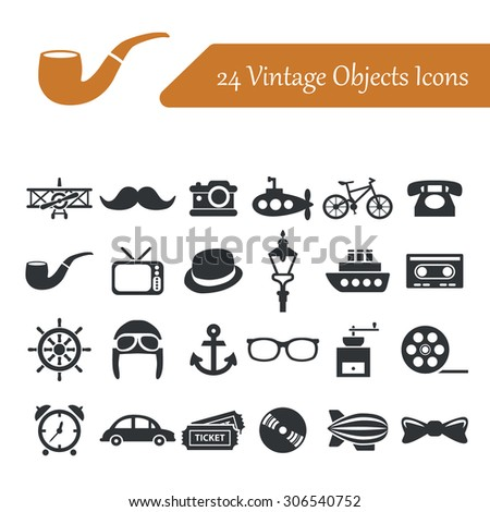 vintage objects icons - stock vector