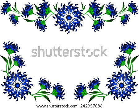 Vintage of blue flowers and leaves. EPS10 vector illustration. - stock vector