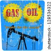 vintage oil and gas advertising sign, vector illustration - stock vector