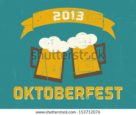 Vintage Oktoberfest poster in blue and yellow.