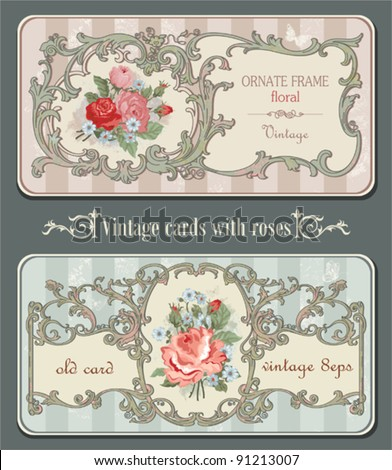 Vintage old cards with roses - stock vector