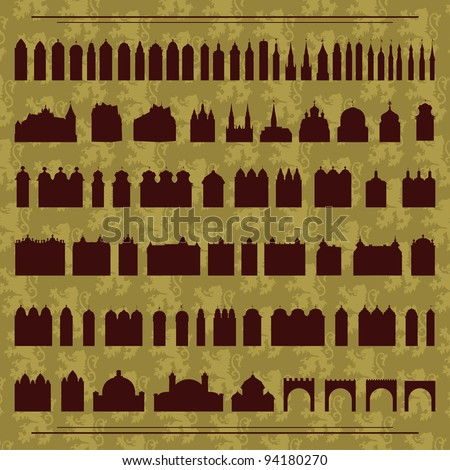 Vintage old city buildings, churches, towers, castles and gates illustration collection background vector - stock vector