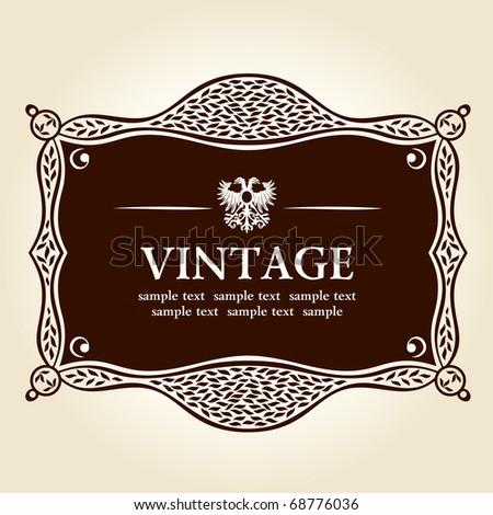vintage old frame. vector background - stock vector