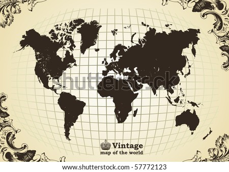 Vintage old map of the world frame. Vector illustration - stock vector