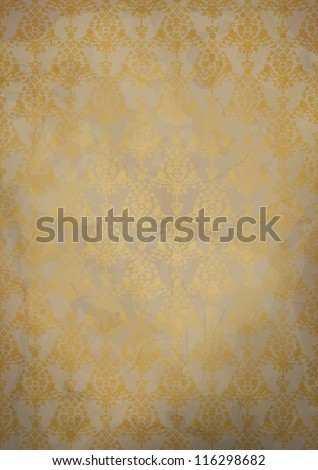 Vintage old paper background with gold seamless pattern. Vector EPS 10 illustration. - stock vector