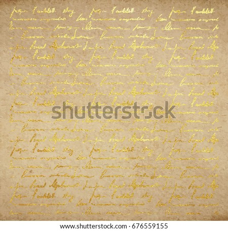 Vintage Old Paper Texture With Golden Ink Handwriting Letter Poems Background Scrapbooking Victorian Style