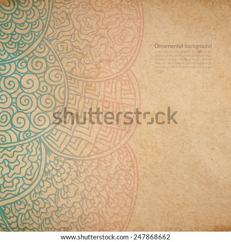 Vintage old paper texture with vector traditional japanese ornament, asian style hand drawn decorative background - stock vector