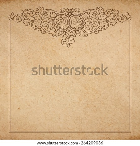 Vintage old paper texture with vector vignette with Medieval ornament, hand drawn floral decorative frame with wedding rings, copy space emblem - stock vector