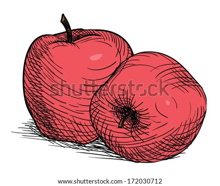 vintage old red apple, drawn fruit - stock vector