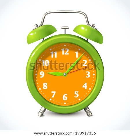 Vintage old style color alarm clock watch isolated on white background vector illustration - stock vector