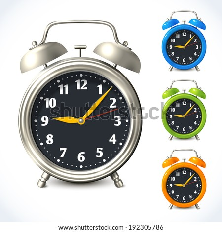 Vintage old style color and metal alarm clock watch set isolated vector illustration - stock vector