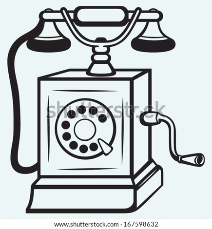 Vintage old telephone isolated on blue batskground - stock vector