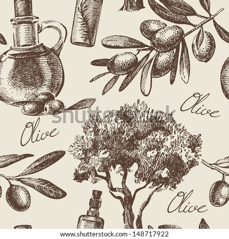 Vintage olive seamless pattern. Hand drawn illustration - stock vector