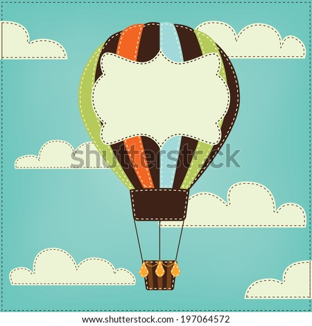Vintage or retro hot air balloon in sky with clouds  and text box, for scrapbooking or backgrounds, vector format - stock vector