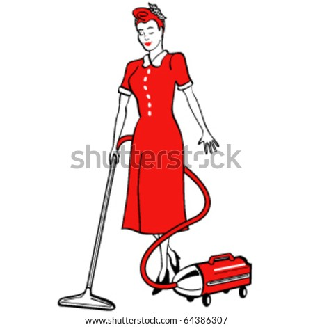 Vintage Retro 1950s Style Illustration Housekeeper Stock Vector ...