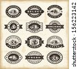 Vintage organic farming stamps set. Fully editable EPS10 vector. - stock vector