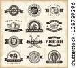 Vintage organic harvest stamps set. Fully editable EPS10 vector. - stock photo