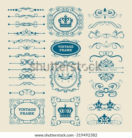 Vintage ornament and divider. Design elements. Set of vector graphic elements: for Card, Invitations, Placards, Logotypes, Posters, Banners, Web design, Vintage design - stock vector