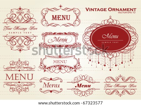 vintage ornament / frame template for your title, text or message - stock vector