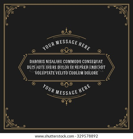 Vintage Ornament Quote Marks Box Frame Vector template design and place for text. Retro flourishes frame chalkboard style. - stock vector