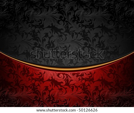 Vintage ornament red and black, vector - stock vector