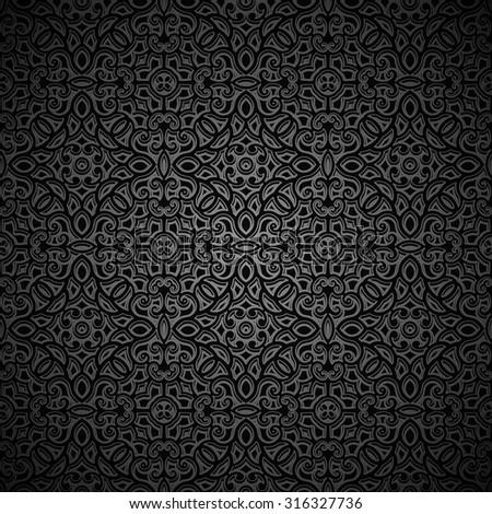Vintage ornamental black background, vector seamless pattern - stock vector
