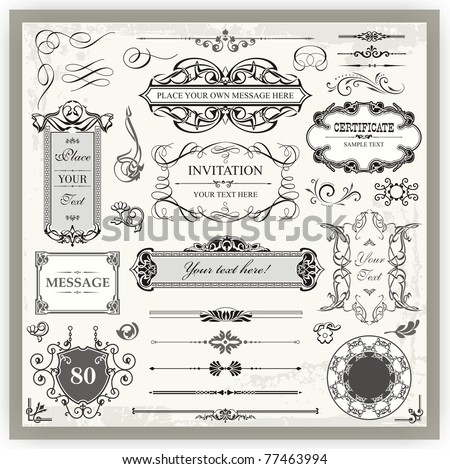 Vintage Ornamental Calligraphic Designs Set - stock vector